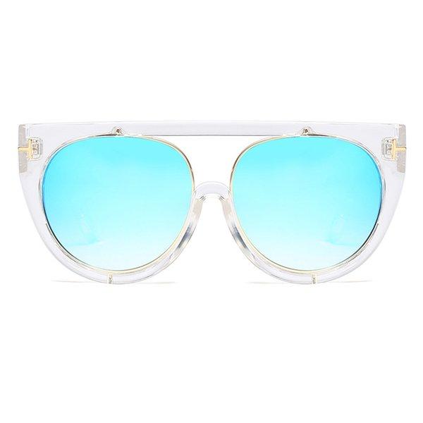 C7 Clear White Frame Blue Mirror