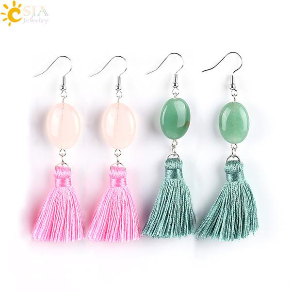 CSJA Hot Best Friend Gift Jewelry Green Pink Quartz Oval Shaped Dangle Gemstone Earrings Short Tassel Fringe Daily Wearing Ear Jewelry E628
