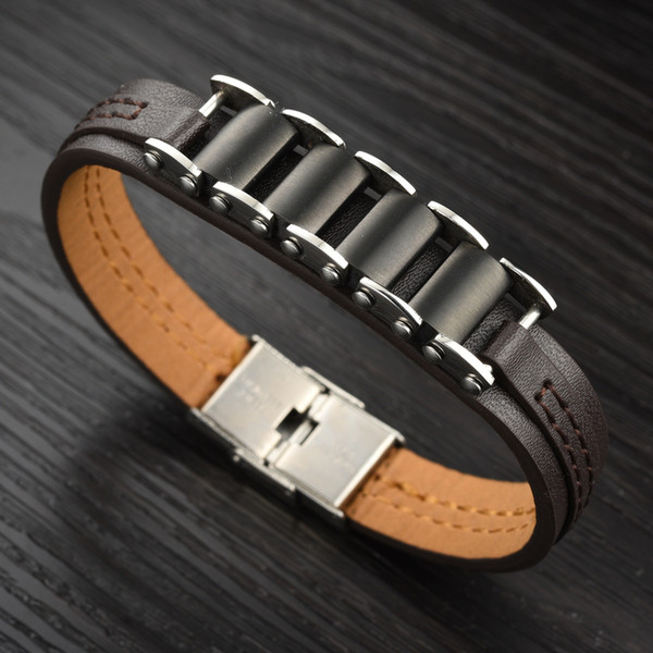 Men's Leather Bracelet titanium bracelet Leather Fashion Institute wind