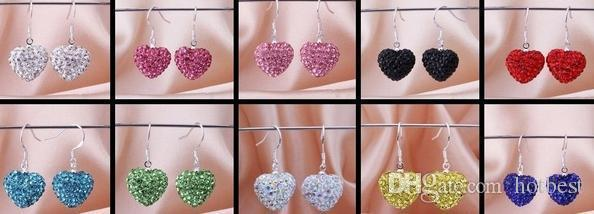 Free Shipping hotsale new Rhinestone Mix Colors white disco Ball beads clay heart drop Dangle crystall Crystal Earrings Stud women w93