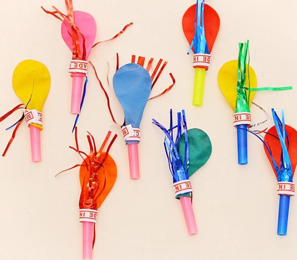 Yeni Rastgele Renk Püskül Düdük Balonlar Bebek Çocuk Oyuncakları Mutlu Doğum Günü Partisi Düğün Komik Hediyeler Süslemeleri