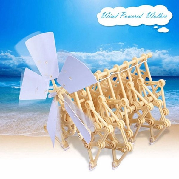 best selling Wholesale- Cute Sunlight DIY Wind Powered Walking Stand Beast Mini Walker Model Kit Puzzle Toy Small Assembly Model Children Robot Toy