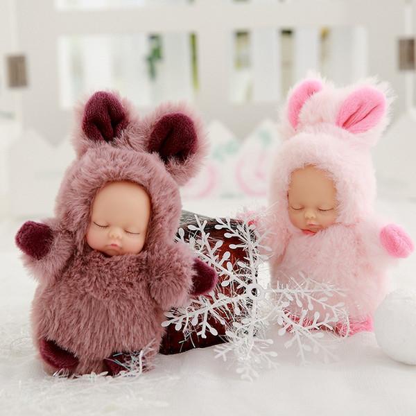 10 cm Bonito Realista Meninas Bonecas de Aniversário Empresa Presente de Natal Apaziguar Boneca Chave Fivela Pingente Simulação Sono Do Bebê Bonito Do Bebê Acompanhar