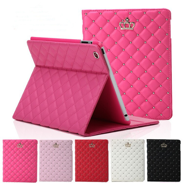 Luxury Rhinestone Crown PU Leather Tablet Folding case for iPad 2 3 4 5 6 IPAD mini 4 with stand shockproof Dormancy Cover