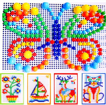 296pcs colorful mushroom nail puzzle intelligent plastic educational flashboard toys Jigsaw puzzle game Mosaic Pegboard flapper