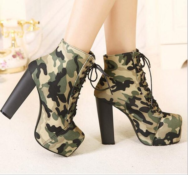 Fashion Women 14cm Bottom High Heel Shoes Slip On Round Toe For Women Square Heel Shoes Femme Knee High Boots Camouflage Free Shipping