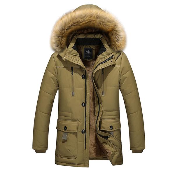 Al por mayor-2016 nuevos hombres de la llegada gruesa caliente invierno abajo abrigo de cuello de piel hombres parka yardas grandes chaqueta de abrigo de algodón parka hombres M-5XL