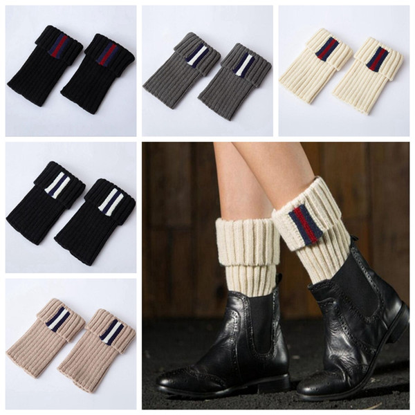 Knitted Boot Cuffs Striped Women Ladies Crochet Toppers Knit Leg Warmers Winter Short Boot Socks 5 Colors OOA2915