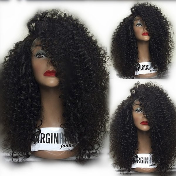 No Tangle Soft Afro Kinky Curl Lace Front Wig Glueless Kinky Curly Full Lace Wig African American Black Women Cheap Wigs