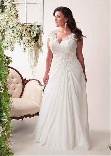 Vestidos de novia de gasa de una línea de talla grande con apliques de manga casquillo Plisados Barrer tren Vestidos de novia sin respaldo de encaje Vestidos De Noiva W606