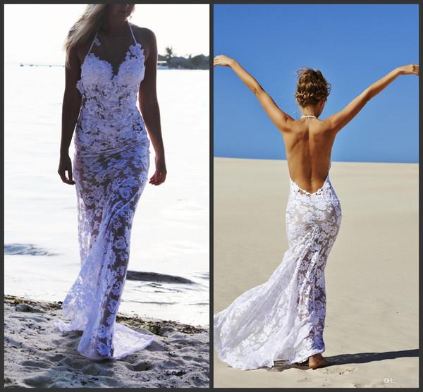 Großhandel Sexy 2017 Sea Beach Full Lace Mantel Brautkleider Halfter ...