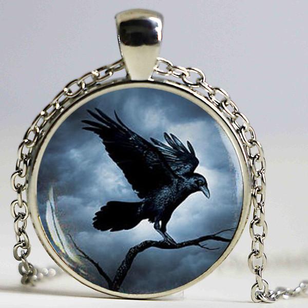 Steampunk Raven Necklace For Women 2017 Gothic Crow Pocket pendant Necklace Bird Pendant