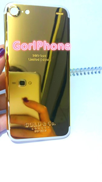 Esqueleto de ouro realPlating Back Habitação Tampa Da Pele Da Bateria Da Porta Para iPhone 7 7 + Luxo Chapeamento De Ouro Cromado Moldura Limpar Caso Do Telefone Móvel