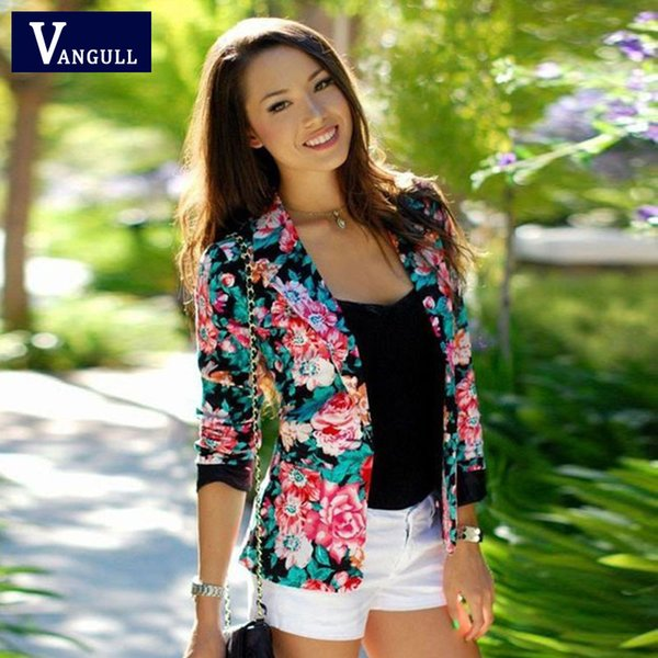 Wholesale- Women Floral Jacket 2016 New fashion Women Jacket Ladies Stylish Floral Printed Casual One Button Slim Suit Coat Outwear