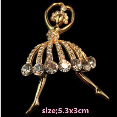 Ballet dancer figure brooches pins full of diamond brooch corsage scarves buckle Christmas party birthday gift