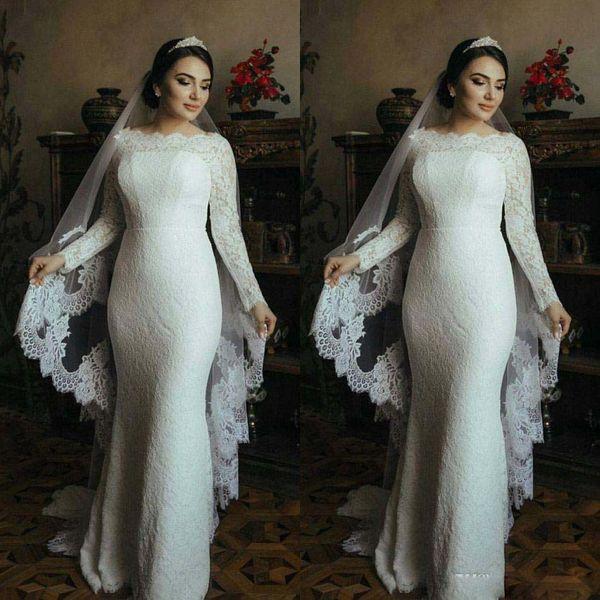Nueva llegada musulmán vestidos de novia de manga larga de encaje completo trompeta vestidos de novia barrer tren 2017 vestido de novia