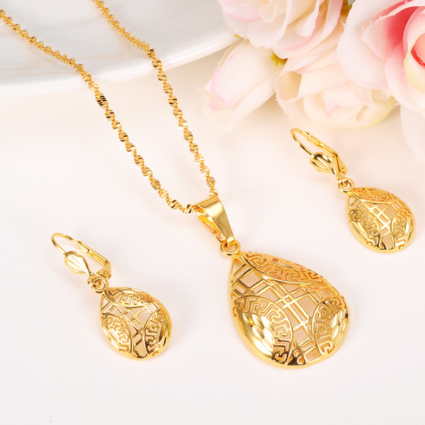 New Jewelry sets Elegance Necklace Earrings Fine 14k Real Solid Yellow Gold Girlfriend Sweethearts Daughter Wedding Gifts