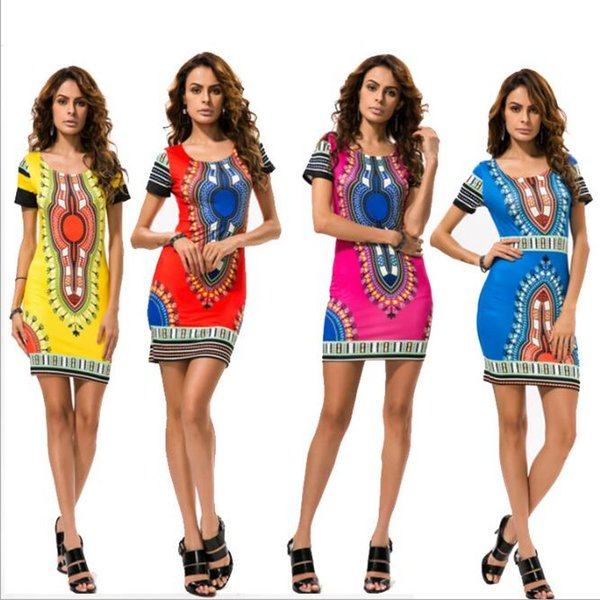 8be4d144e1c Womens Traditional African Print Dashiki Bodycon Sexy Short Sleeve Slim  Dress Party Evening Clubwear Short Mini