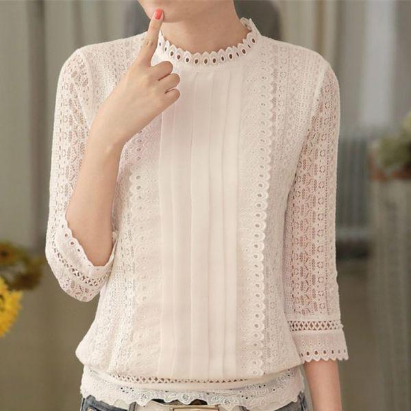 tanzhilian1 / Mulheres outono casual blusa de renda branca moda sexy 3/4 manga gola de crochê tops de verão camisa coreano roupas