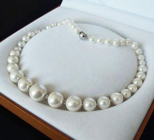 8-16MM WHITE SOUTH SEA SHELL PEARL NECKLACE JEWELRY 18''