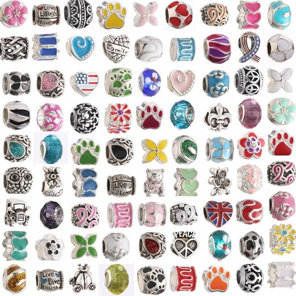 Wholesale Random Styles Alloy Crystal Loose European Big Hole Spacer Beads Slider Circle Bead Jewelry For DIY European Brand Charms Bracelet