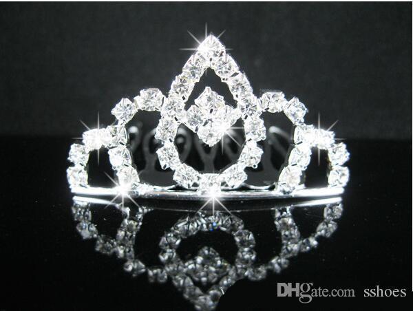 top popular Kids Crystal Crown Headdress Hair Sticks Hair Comb Tiaras Girls Children's cartoon comb Crystal Wedding Crown Bridal hairpin 2021