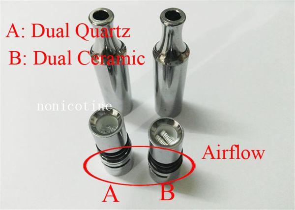 Luftstrom-Wachs-Zerstäuber-Edelstahl-trockene Kraut-Zerstäuber-Doppelquarz-Spulen Doppelkeramik-Metallgefäß VS Skillet EGO-D Behälter
