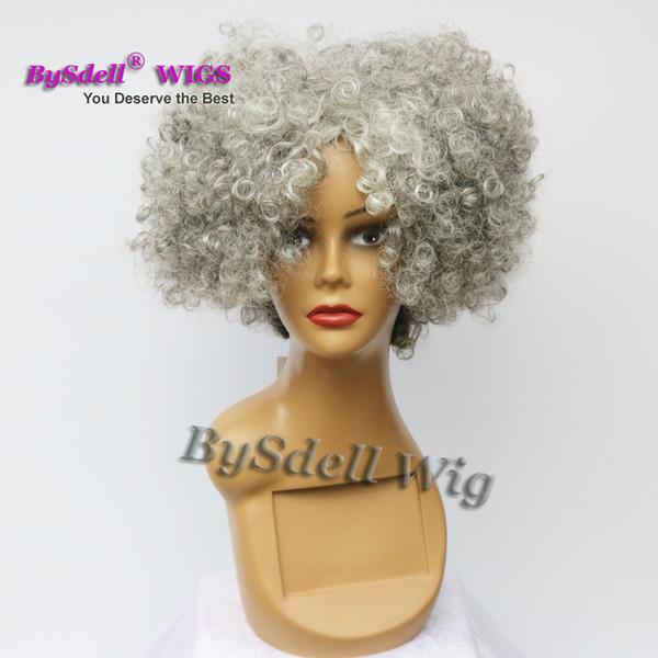 Kurze afro flauschige verworrenes lockiges Haar Perücke synthetische hitzebeständig Oma graue Farbe tief verworrenes lockiges Haar Peluca Perücken frei Teil Perücke