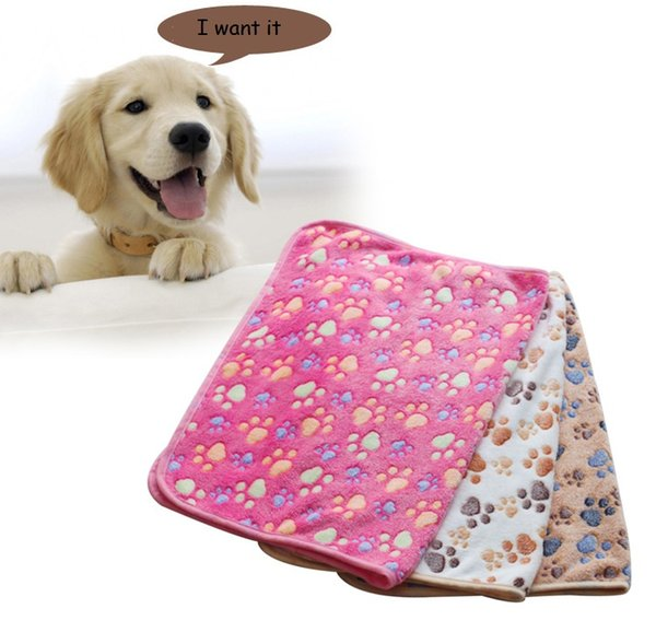 Soft Warm Paw Print Small Pet Dog Cat Blankets Towel Bed Mat Absorbent Cleaning Drying Bath Towel Pet Products 3 Sizes Free Shipping