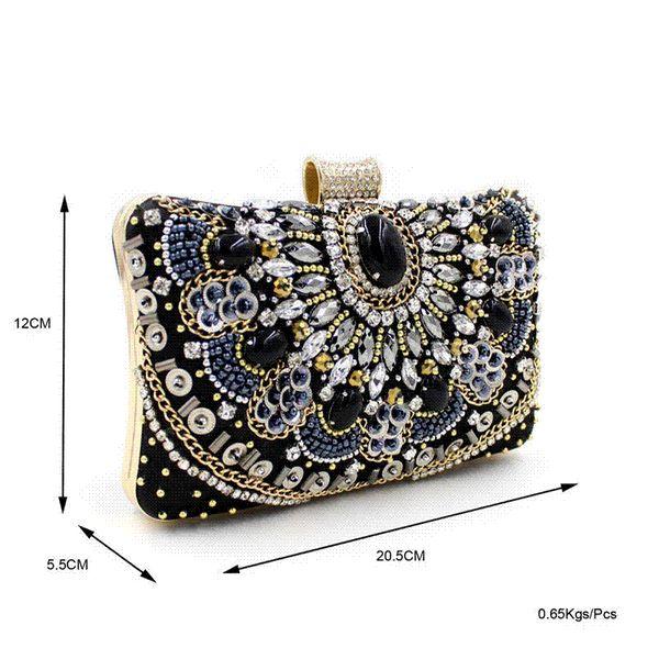 Luxury Heavy Handmade Beading Pearl Embroidery Evening Bag Artificial Gem Diamond Clutch Bag Banquet Purse & Handbag XA1408C