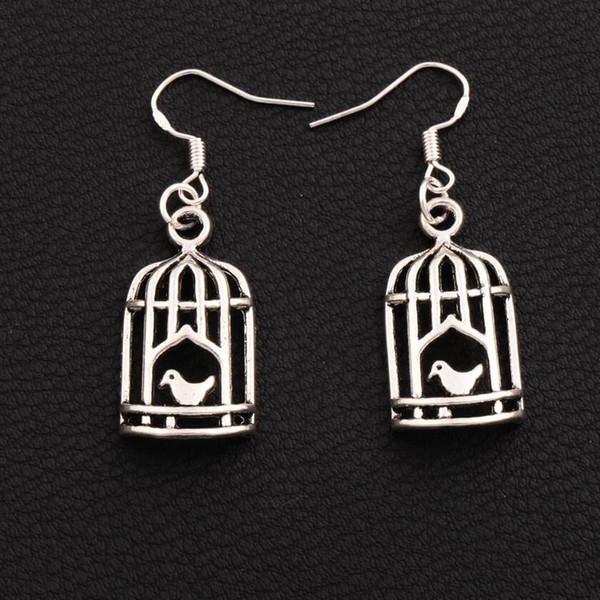 Bird In Half Birdcage Earrings 925 Silver Fish Ear Hook 30pairs/lot Antique Silver Dangle Chandelier E024 42.5x14mm