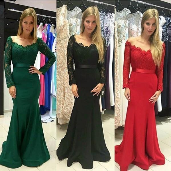Bescheidenen Weg Von Der Schulter Abendkleider Meerjungfrau Langarm Formale Abendkleid für Frauen 2017 Nach Maß Party Kleider