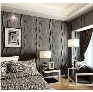 Superbe Wholesale  3D Modern Non Woven Grey Wave Abstract Stripes Pattern Wallpaper  Roll For Living