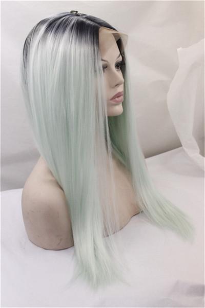 Hochtemperaturbeständige omber Synthetische Lace Front Perücken Faser lange Schönheit Luxus Kunsthaarperücken Ombre Haarspitzeperücke auf Lager