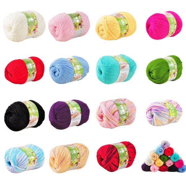 Hot Sale Multi Color Cotton Silk Knitting Yarn Soft Warm Knit Yarn for Hand Knitting Supplies 50g
