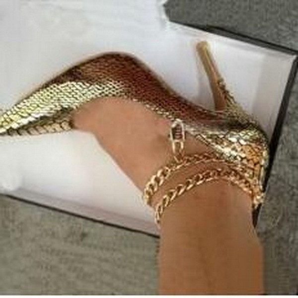 2017 Fashion Brand High Heels Women Gold Snake Leather Sexy Chain Gold Lock Hot Sales Women Shoes Designer Ladies Pointed Toe Dress Shoes