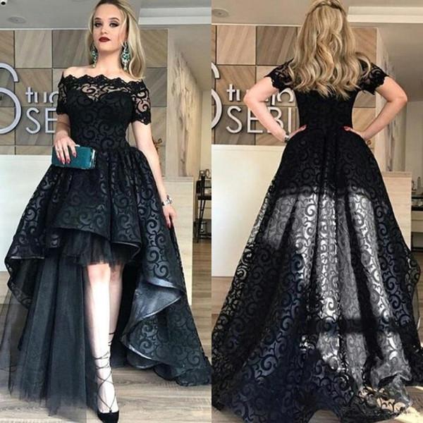 Modest Black High Low Lace Prom Dresses 2018 Bateau Short Sleeve A Line Short Front Long Back Evening Party Pageant Gowns Cheap Vestidos
