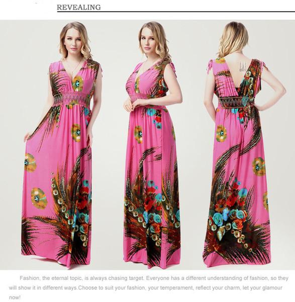 Floral Print Maxi Dresses Womens Beach Club Casual Loose Chiffon Sleeveless  V Neck Long Plus Size Fashion Boho Clothes Bridal Dress One Shoulder ...