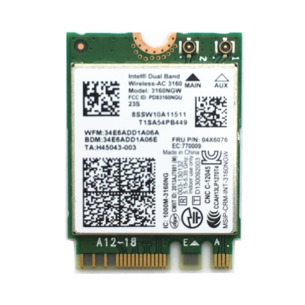 Wholesale- For Dual Band Wireless-AC Intel 3160 802.11a/b/g/n/ac + BT4.0 WiFi Card For E550 E550C E450 E455 FRU 04X6076
