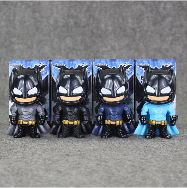 9.5cm 4Styles Super Hero Batman Q version PVC Action Figure Collectable Model toy for kids Christmas gift free shipping EMS
