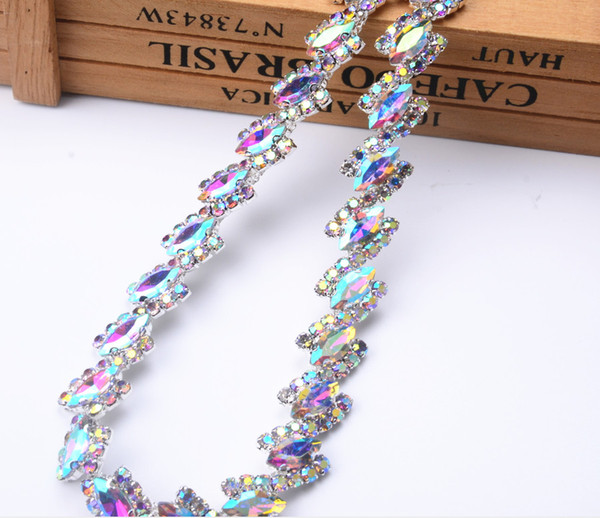 1.8cm width 1yard Horse eye AB glass Crystal flower Clear Glass Rhinestone Bridal Trim Fashion Chain Silver Belt Sash Bags Shoes