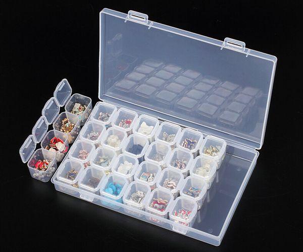 Atacado-Profissional de Plástico Transparente 28 Slots Rhinestone Nail Art Ferramentas Decoração Jóias Beads Display Caixa De Armazenamento Caso Organizador Titular
