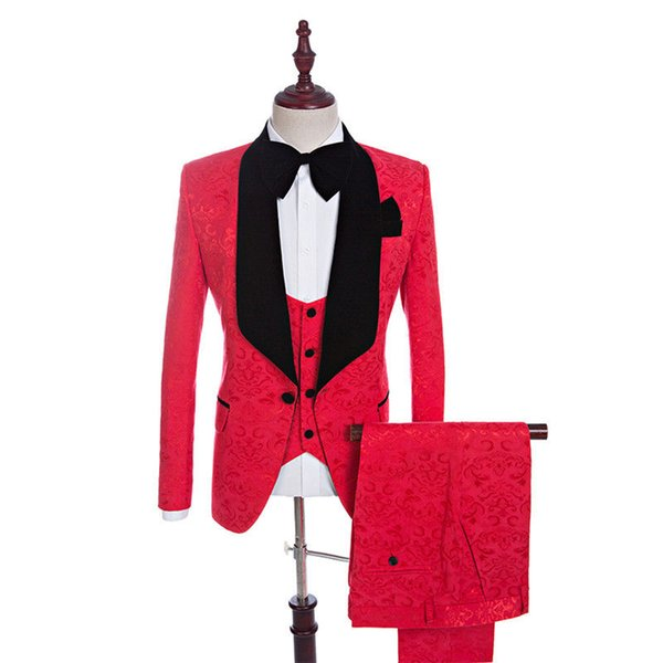 New men's Burgundy Formal Wedding Suits Jacquard 3 Piece Groomsman Best Man Tuxedos The banquet men suit tailored red trim fit
