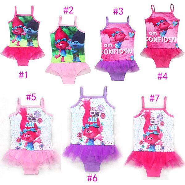 best selling Girls Summer Swimwear Baby Girls Trolls Cartoon Movie Bikini Kids One Piece Swimsuit Beach Swimming Costumes Clothes