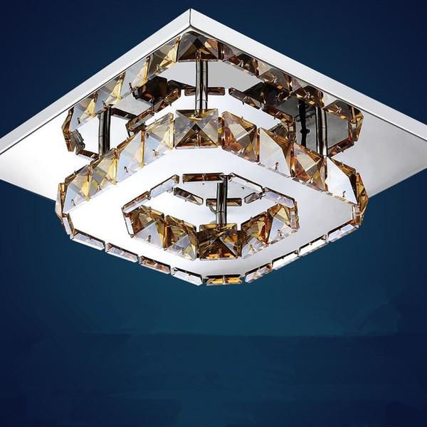 Großhandel Moderne Luxus Led Deckenleuchte Square Transparent / Amber Kristall Lustre Led Lampen Für Hausgang Korridor Balkon Leuchten Von Wsn8oby, ...