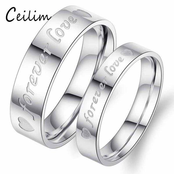 Romantique Nouvelle Mode Minimaliste Plaqué Argent Anneaux De Mariage Amour Pour Toujours Engagement Couple Bague Coeur Amoureux Bijoux Cadeaux En Gros