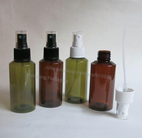 20 x 100ml Leere Plastikflasche mit feinem Nebelsprüher, Spray-Spitze HAUSTIER Flasche, 3,34 Unze bernsteingrüner Plastikbehälter