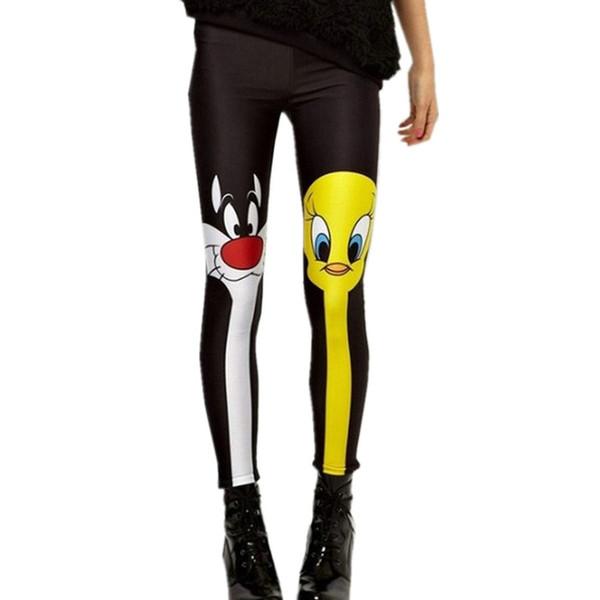 Venda quente Mulheres Leggings 2017 Estilo Verão Dos Desenhos Animados 3D Digital Impresso Calças Skinny Senhoras de Alta Qualidade Leggings Marca LG022