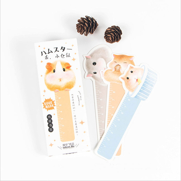 top popular Wholesale-30pcs box Cute Kawaii Small hamster Bookmarks Paper Clip For Book Korean Funny Gift Office School Supply Stationery 2021