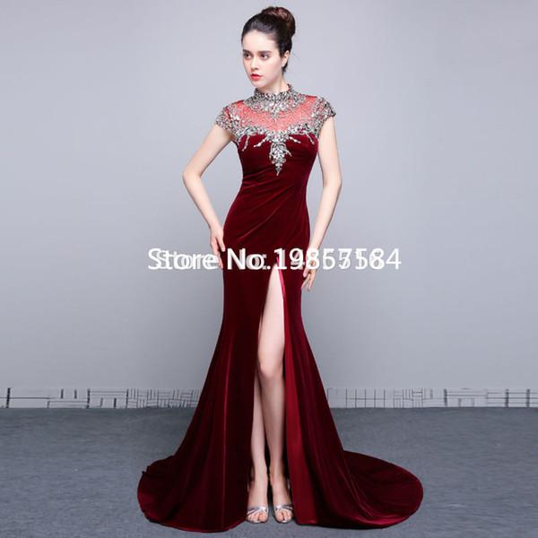 292020f8327f Vestidos de formatura Actual Photos Sexy Evening Gowns Side Open Cap sleeve China  Luxury Beads Velvet